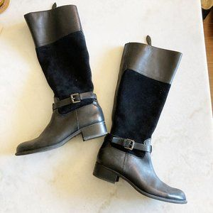 Worn once! Franco Sarto tall black leather boots 8